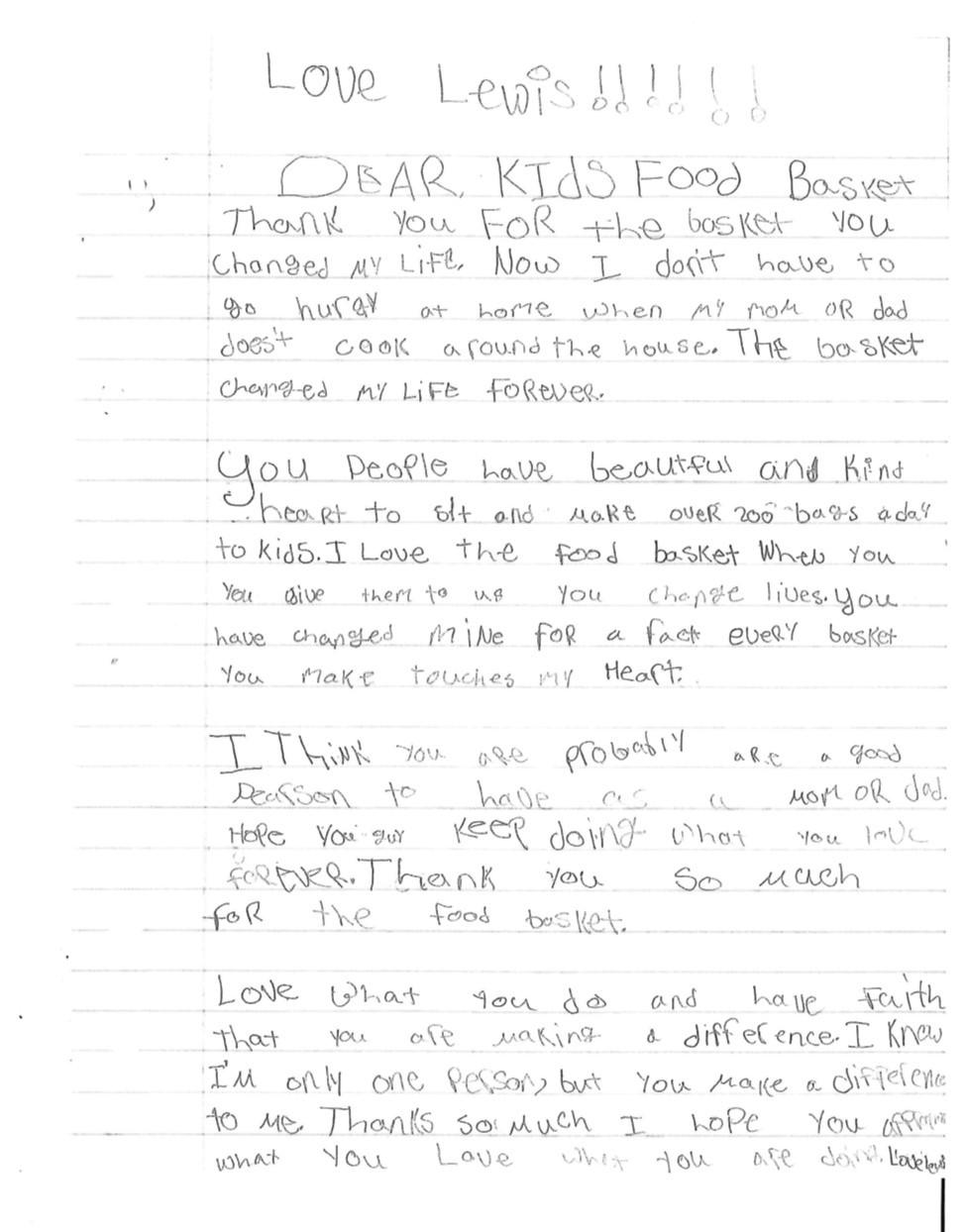 Kids' Food Basket Letter