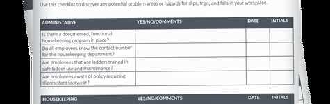 Slips, Trips, & Falls Checklist